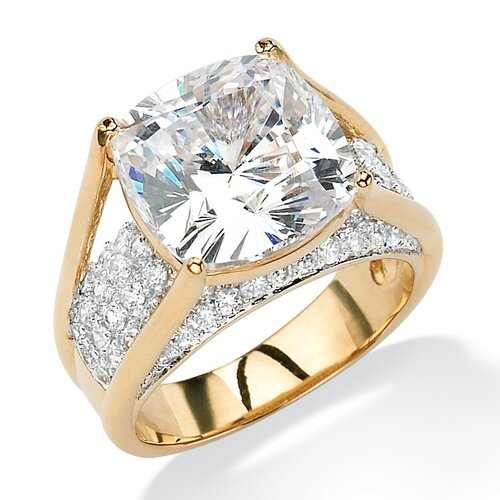 Palm Beach Jewelry Gold Plated Cushion-Cut and Round Cubic Zirconia Ring