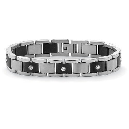 Stainless Steel Men's Crystal Bar-Link Bracelet