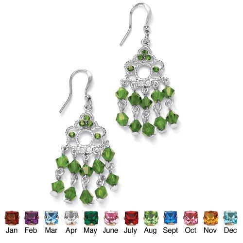 Palm Beach Jewelry Silvertone Birthstone Chandelier Earrings