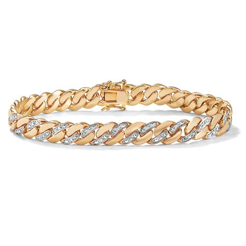Palm Beach Jewelry 14k Gold Plated Men's Diamond Accent Curb Bracelet