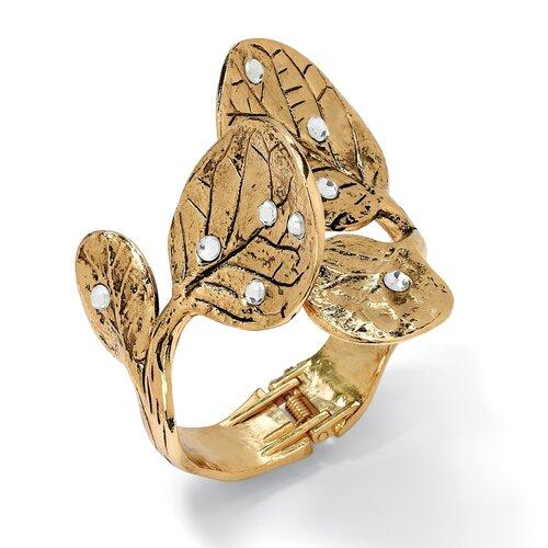 Gold Plated Crystal Free-Form Leaf Bracelet
