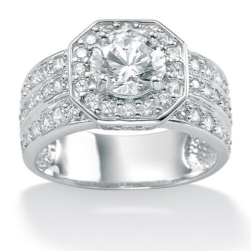 Palm Beach Jewelry Platinum/Silver Round Cubic Zirconia Octagon-Shaped Ring