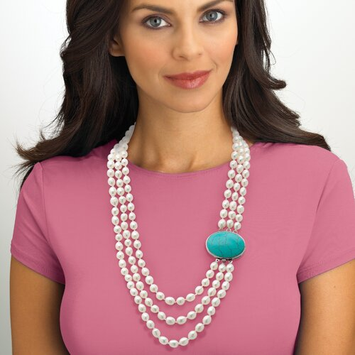 Silvertone Freshwater Cultured Pearl/Turquoise Necklace