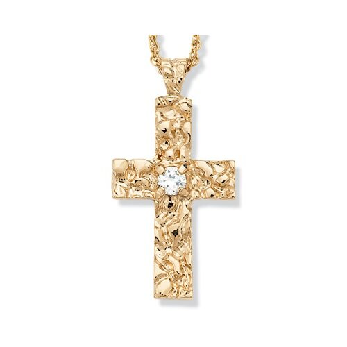 Palm Beach Jewelry Gold Plated Cubic Zirconia Nugget Cross