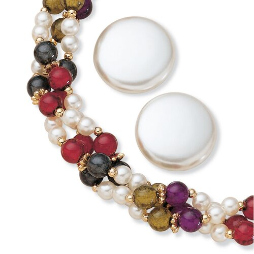 Goldtone Simulated Cultured Pearl Jewelry Set