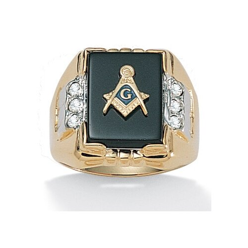 Men's Onyx Brass Round Crystal Masonic Ring