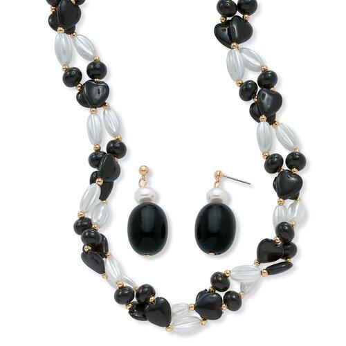 Goldtone Black and White Lucite Beaded Set