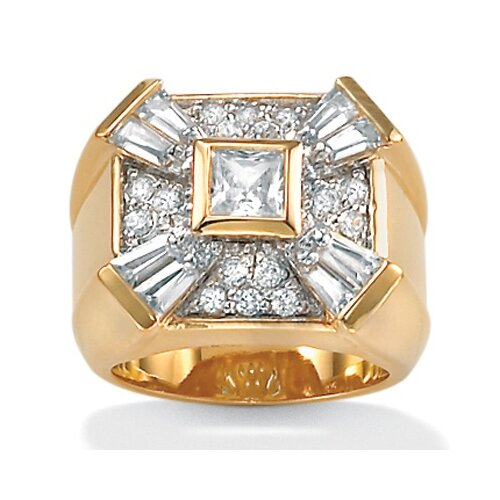 Gold Plated Men's Cubic Zirconia Ring Bezel-Set