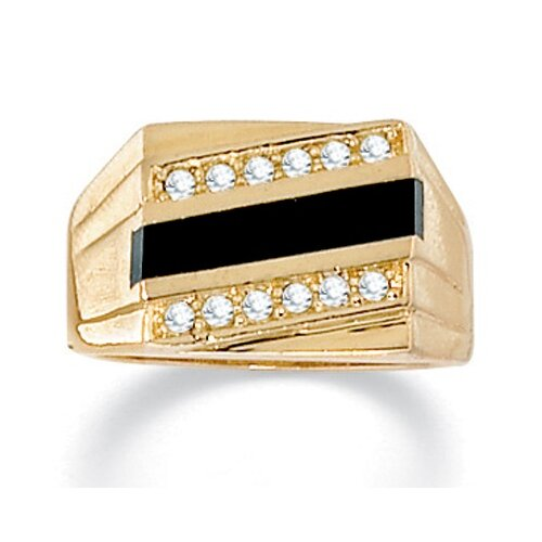 Men's Onyx and Crystal Ring