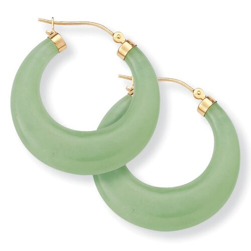 Palm Beach Jewelry Jade 14K Gold Hoop Earrings