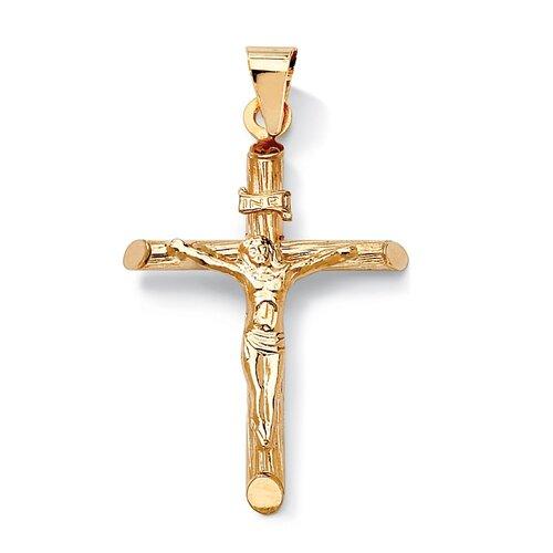 14K Gold Crucifix Charm Pendant