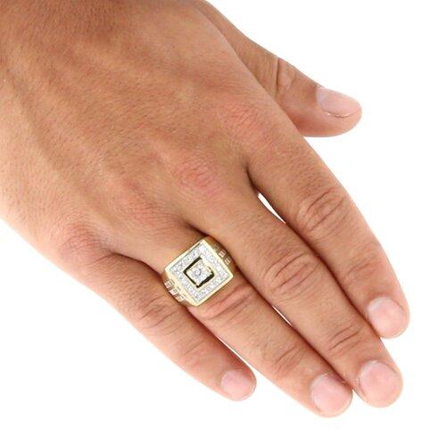 Palm Beach Jewelry Men's Cubic Zirconia 18K / Sterling Silver Ring