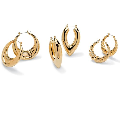 Palm Beach Jewelry 3 Pairs of Hoop Earrings Set