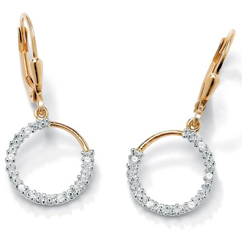 Palm Beach Jewelry 18K Sterling Silver Diamond Accent Hoop Earrings