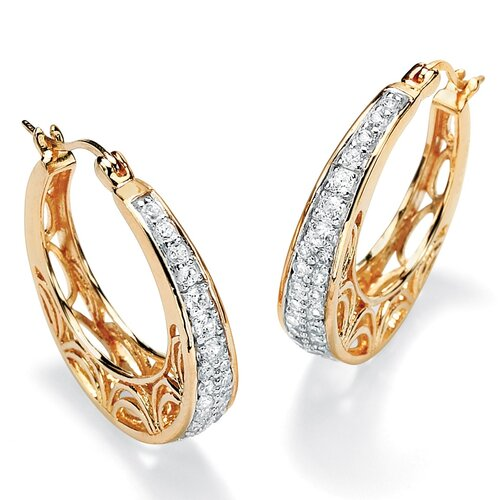 Palm Beach Jewelry Cubic Zirconia Filigree Hoop Pierced Earrings