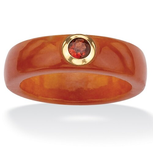Red Jade and Garnet Ring