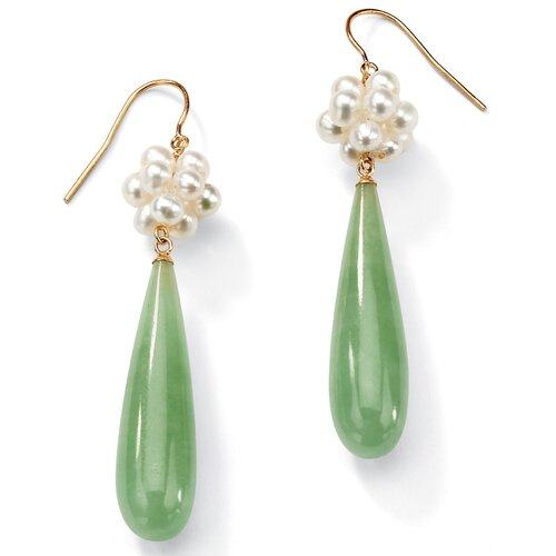 Jade/Cultured Pearl Pierced Earrings