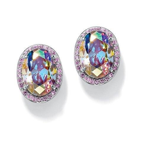 Aurora Borealis and Pink Cubic Zirconia Earrings