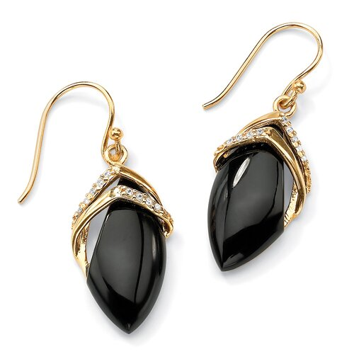 Marquise-Shaped Onyx / Cubic Zirconia Earrings