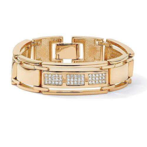 Men's Cubic Zirconia Bar-Link Bracelet