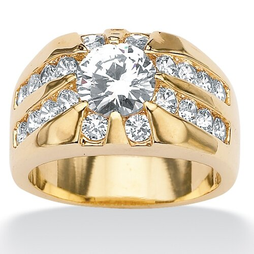 Men's Brass Round Cubic Zirconia Ring
