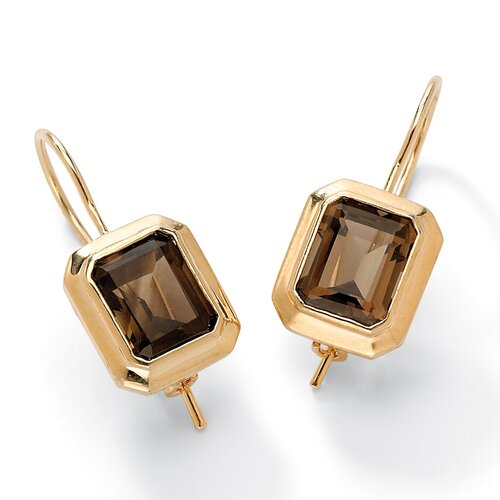 Palm Beach Jewelry Smoky Quartz Pierced Earrings