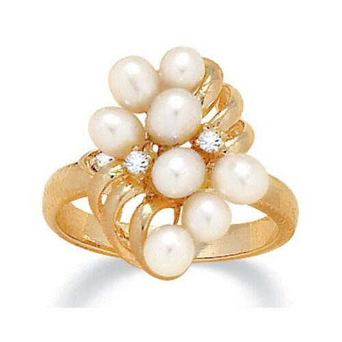 Palm Beach Jewelry Cultured Pearl / Crystal Ring