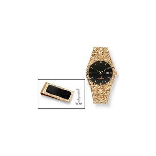 Palm Beach Jewelry Goldtone Men's Vernier Diamond Accent Watch