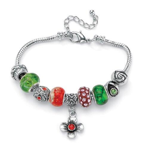 Palm Beach Jewelry Crystal Bali-Style Charm Bracelet
