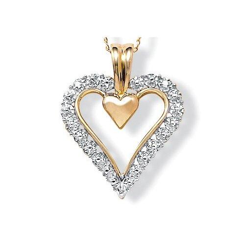 Palm Beach Jewelry 10K Gold Round Diamond Heart Pendant