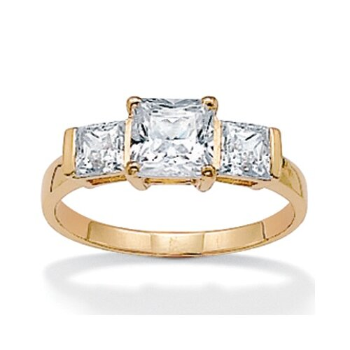 10k Gold Princess and Square Cubic Zirconia Ring