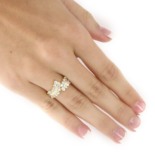 Palm Beach Jewelry 14K Gold Plated Round Cubic Zirconia Ring