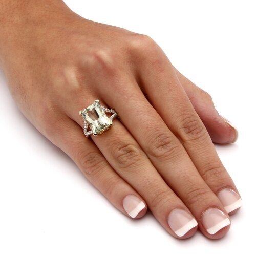 Palm Beach Jewelry 10k Gold Cushion- Emerald and Octagon Diamond with  Amethyst Ring