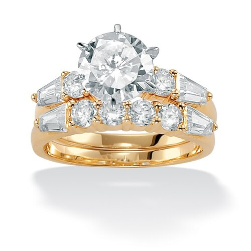 10k Gold Round 2-Piece Cubic Zirconia Bridal Set Ring