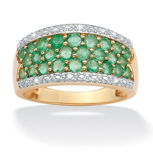 Palm Beach Jewelry 10k Gold Round Emerald Ring