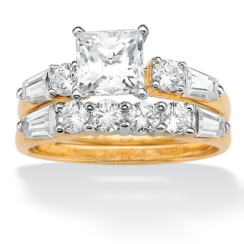 10k Gold DiamonUltra Cubic Zirconia Wedding Ring Set