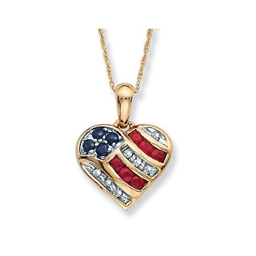 Palm Beach Jewelry 10k Gold Blue Sapphire, Diamond Accents and Lab-Created Ruby Heart-Shaped Patriotic Pendant