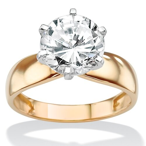 Gold Cubic Zirconia Solitaire Ring