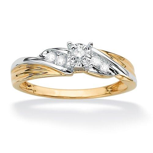 10k Gold Tutone Round Diamond Wedding Ring