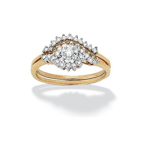 10k Gold Round Diamond Cluster Wedding Ring Set