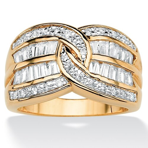 Palm Beach Jewelry Silver Round Cubic Zirconia Interlocking Ring