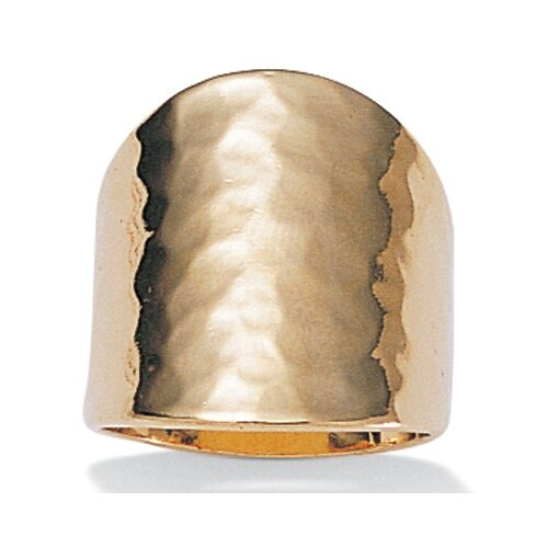Palm Beach Jewelry 14k Gold Plated Hammered-Style Cigar Band Ring
