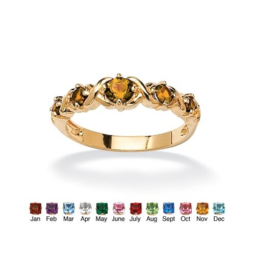 "Palm Beach Jewelry 14k Gold Plated Round Birthstone ""X and O"" Ring"
