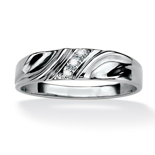 Palm Beach Jewelry Men's Sterling Silver Round Diamond Accent Wedding Band Ring