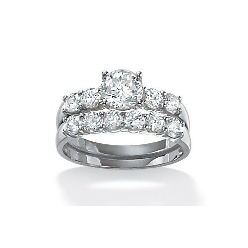 Sterling Silver Round Wedding Ring Set