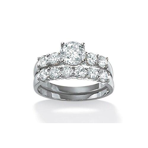 Sterling Silver Round Wedding Ring Set