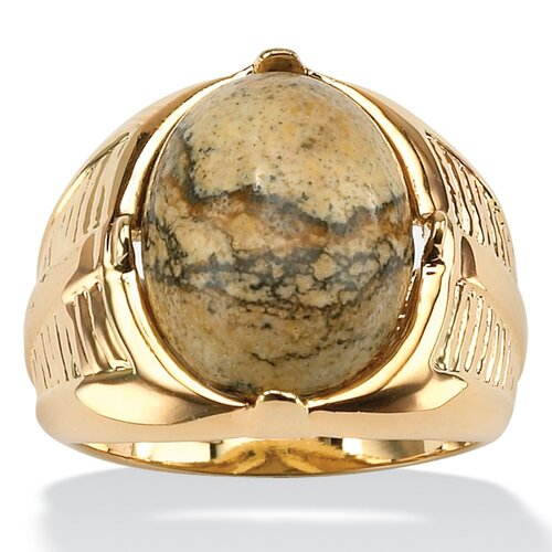 Men's Gold Oval Jasper Ring