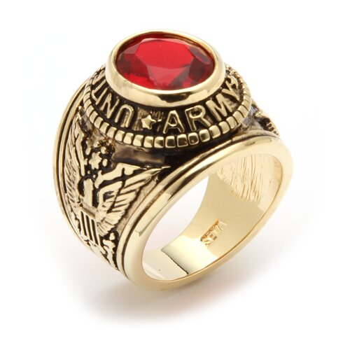 Palm Beach Jewelry Men's 14K Gold Plated Oval Crystal Army Ring