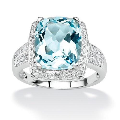 Palm Beach Jewelry Blue Topaz and Diamond Accent Ring