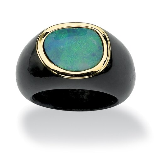 Blue Opal and Black Jade Ring
